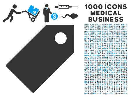 operand: Tag icon with 1000 medical business gray and blue glyph pictograms. Design style is flat bicolor symbols, white background.
