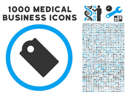 operand: Tag icon with 1000 medical commerce gray and blue glyph pictograms. Collection style is flat bicolor symbols, white background. Stock Photo