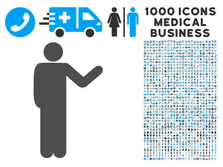 talker: Talking Man icon with 1000 medical business gray and blue glyph pictographs. Collection style is flat bicolor symbols, white background.