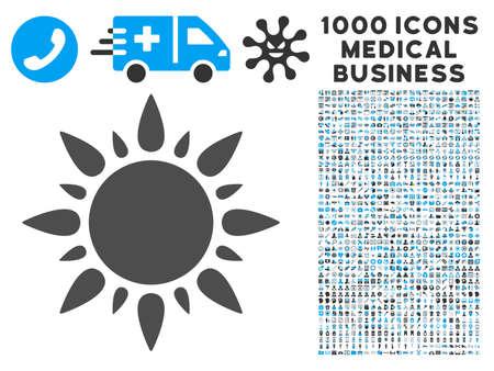 radiacion solar: Sun icon with 1000 medical commerce gray and blue glyph pictographs. Design style is flat bicolor symbols, white background. Foto de archivo