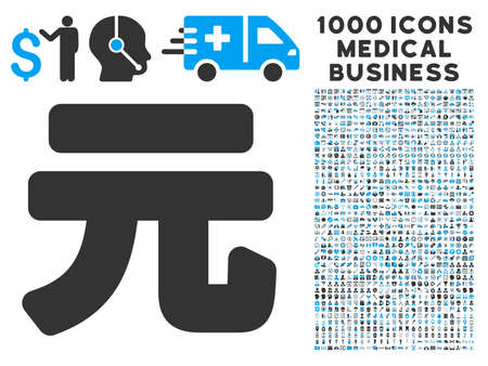 symbols commercial: Yuan Renminbi icon with 1000 medical commercial gray and blue glyph pictographs. Set style is flat bicolor symbols, white background.