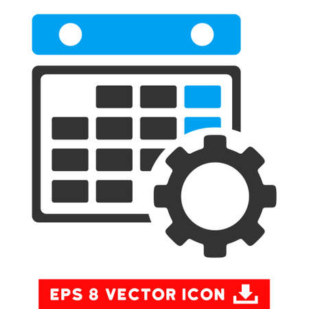 configuration: Blue And Gray Calendar Configuration EPS vector pictogram. Illustration style is flat iconic bicolor symbol on a white background.