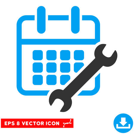 configure: Blue And Gray Calendar Configure EPS vector pictogram. Illustration style is flat iconic bicolor symbol on a white background.