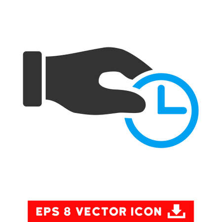 Blue And Gray Clock Properties EPS vector pictogram. Illustration style is flat iconic bicolor symbol on a white background. Illustration