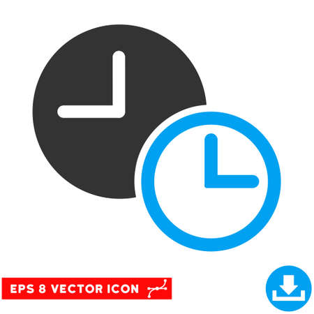 timed: Blue And Gray Clocks EPS vector pictograph. Illustration style is flat iconic bicolor symbol on a white background. Illustration