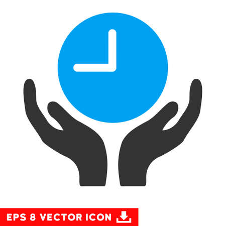 timed: Blue And Gray Clock Care EPS vector pictogram. Illustration style is flat iconic bicolor symbol on a white background.