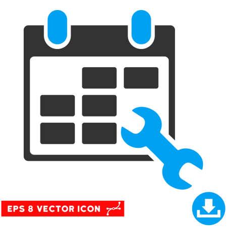 cronograma: Azul y gris Configurar Horarios EPS vector de pictograma. estilo de ilustración es el símbolo plano bicolor icónico en un fondo blanco.
