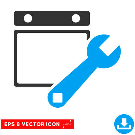Blue And Gray Date Setup EPS vector pictogram. Illustration style is flat iconic bicolor symbol on a white background.