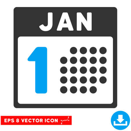 1 january: Blue And Gray January First EPS vector pictogram. Illustration style is flat iconic bicolor symbol on a white background.