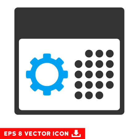 schedule system: Blue And Gray Service Calendar EPS vector icon. Illustration style is flat iconic bicolor symbol on a white background. Illustration
