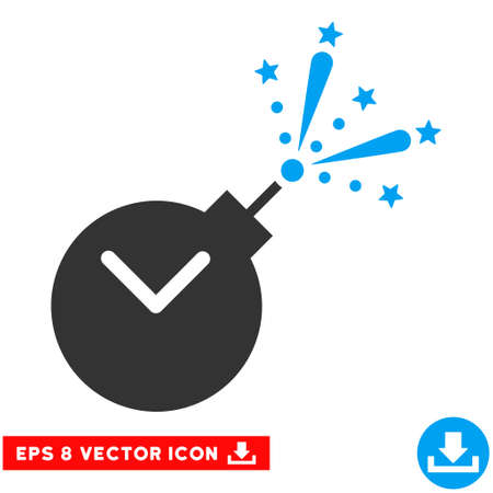 explosive watch: Blue And Gray Time Fireworks Charge EPS vector icon. Illustration style is flat iconic bicolor symbol on a white background. Illustration