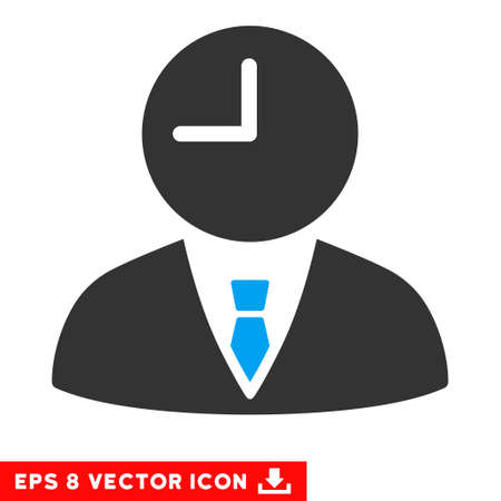 temporary workers: Blue And Gray Time Manager EPS vector pictogram. Illustration style is flat iconic bicolor symbol on a white background. Illustration