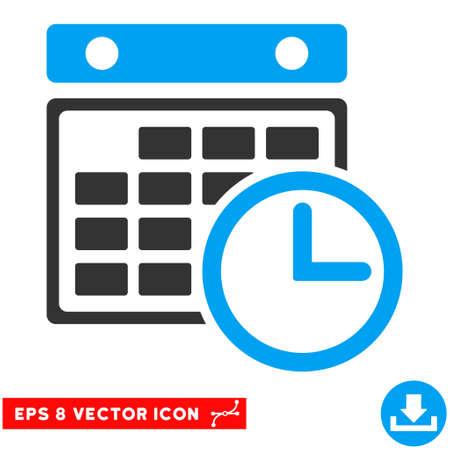 cronograma: Horarios azul y gris EPS vector de pictograma. estilo de ilustraci�n es el s�mbolo plano bicolor ic�nico en un fondo blanco. Vectores