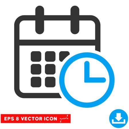 cronograma: Horarios azul y gris EPS vector de pictograma. estilo de ilustración es el símbolo plano bicolor icónico en un fondo blanco. Vectores