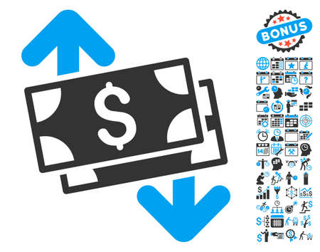 bank activities: Banknotes Spending pictograph with bonus calendar and time management elements. Vector illustration style is flat iconic bicolor symbols, blue and gray colors, white background.