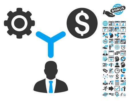 economist: Business Scheme pictograph with bonus calendar and time management symbols. Vector illustration style is flat iconic bicolor symbols, blue and gray colors, white background.