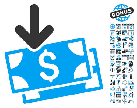 Get Banknotes pictograph with bonus calendar and time management images. Vector illustration style is flat iconic bicolor symbols, blue and gray colors, white background.