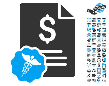 indent: Medical Invoice icon with bonus calendar and time management clip art. Vector illustration style is flat iconic bicolor symbols, blue and gray colors, white background.
