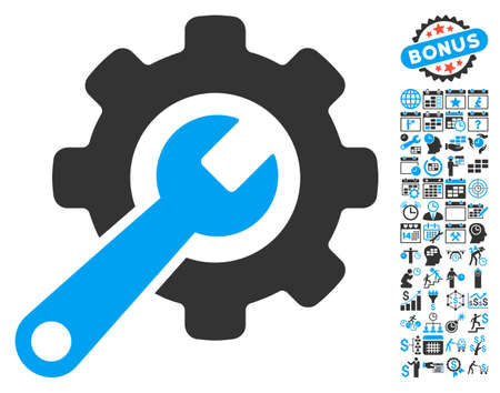 instrumentation: Tools icon with bonus calendar and time management design elements. Vector illustration style is flat iconic bicolor symbols, blue and gray colors, white background.