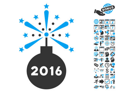 2016 Fireworks Detonator pictograph with bonus calendar and time management design elements. Vector illustration style is flat iconic bicolor symbols, blue and gray colors, white background. Illustration