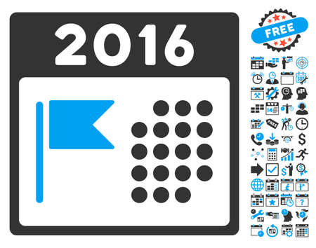 flagged: 2016 Holiday Calendar pictograph with bonus calendar and time management elements. Vector illustration style is flat iconic bicolor symbols, blue and gray colors, white background.