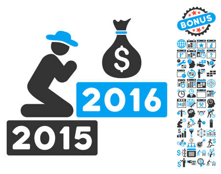 Pray for Money 2016 icon with bonus calendar and time management images. Vector illustration style is flat iconic bicolor symbols, blue and gray colors, white background.