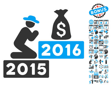 spiritual growth: Pray for Money 2016 icon with bonus calendar and time management images. Vector illustration style is flat iconic bicolor symbols, blue and gray colors, white background.