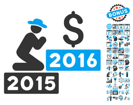 Pray for Money 2016 icon with bonus calendar and time management pictogram. Vector illustration style is flat iconic bicolor symbols, blue and gray colors, white background. Illustration