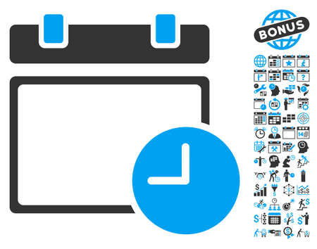 timed: Calendar Page and Time pictograph with bonus calendar and time management graphic icons. Vector illustration style is flat iconic bicolor symbols, blue and gray colors, white background. Illustration