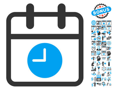 timed: Calendar Page and Time pictograph with bonus calendar and time management icon set. Vector illustration style is flat iconic bicolor symbols, blue and gray colors, white background.