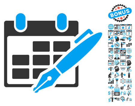 Edit Calendar Table pictograph with bonus calendar and time management pictures. Vector illustration style is flat iconic bicolor symbols, blue and gray colors, white background. Illustration