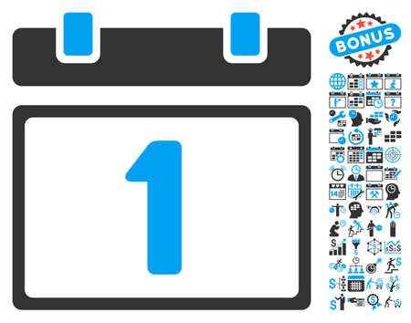 first form: First Day Calendar Page icon with bonus calendar and time management pictures. Vector illustration style is flat iconic bicolor symbols, blue and gray colors, white background.