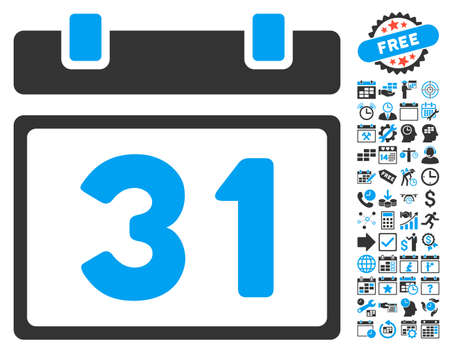 first form: Last Month Day pictograph with bonus calendar and time management images. Vector illustration style is flat iconic bicolor symbols, blue and gray colors, white background.