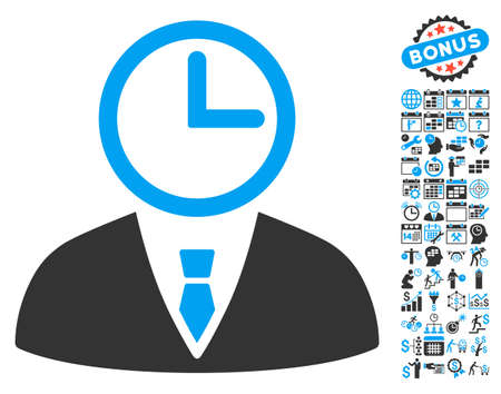 temporary workers: Time Manager icon with bonus calendar and time management icon set. Vector illustration style is flat iconic bicolor symbols, blue and gray colors, white background.
