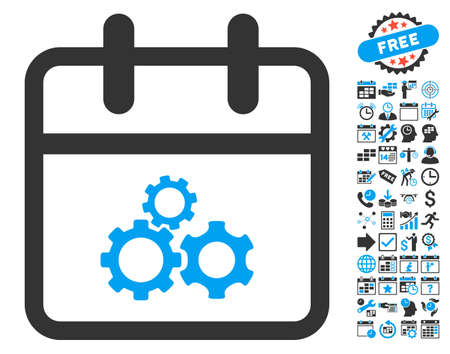 gear box: Mechanics Day icon with bonus calendar and time management icon set. Vector illustration style is flat iconic bicolor symbols, blue and gray colors, white background.