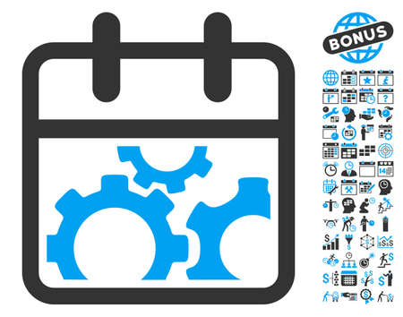 gear box: Technical Day icon with bonus calendar and time management symbols. Vector illustration style is flat iconic bicolor symbols, blue and gray colors, white background.