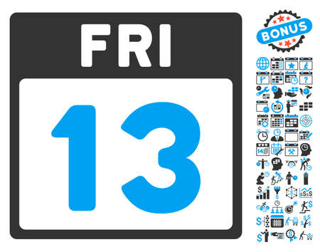 friday 13th: 13 Friday Calendar Page pictograph with bonus calendar and time management pictures. Vector illustration style is flat iconic bicolor symbols, blue and gray colors, white background.