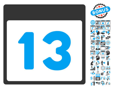 13th: 13Th Calendar Day icon with bonus calendar and time management clip art. Vector illustration style is flat iconic bicolor symbols, blue and gray colors, white background.