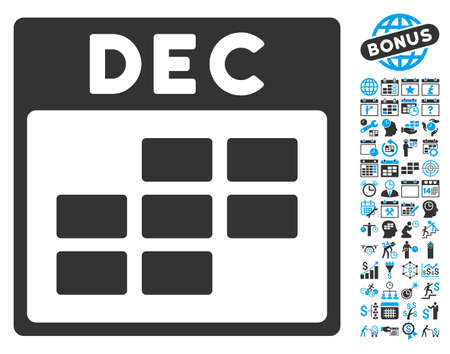 december calendar: December Calendar Page pictograph with bonus calendar and time management icon set. Vector illustration style is flat iconic bicolor symbols, blue and gray colors, white background. Illustration