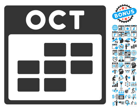 october calendar: October Calendar Page pictograph with bonus calendar and time management pictograph collection. Vector illustration style is flat iconic bicolor symbols, blue and gray colors, white background.