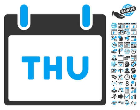 thursday: Thursday Calendar Page pictograph with bonus calendar and time management symbols. Vector illustration style is flat iconic bicolor symbols, blue and gray colors, white background. Illustration