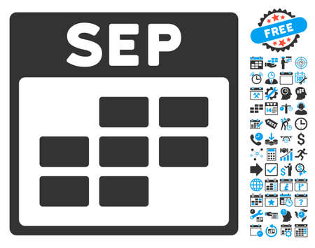 september calendar: September Calendar Page pictograph with bonus calendar and time management pictograph collection. Vector illustration style is flat iconic bicolor symbols, blue and gray colors, white background. Illustration