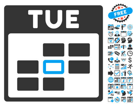 tuesday: Tuesday Calendar Page icon with bonus calendar and time management pictogram. Vector illustration style is flat iconic bicolor symbols, blue and gray colors, white background. Illustration
