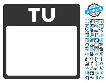 tuesday: Tuesday Calendar Page pictograph with bonus calendar and time management pictures. Vector illustration style is flat iconic bicolor symbols, blue and gray colors, white background.