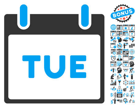 tuesday: Tuesday Calendar Page pictograph with bonus calendar and time management pictograph collection. Vector illustration style is flat iconic bicolor symbols, blue and gray colors, white background.