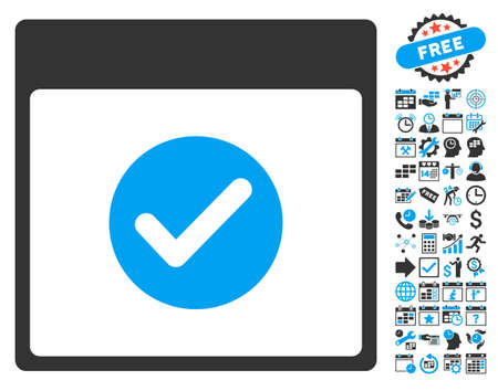 valid: Valid Calendar Page pictograph with bonus calendar and time management pictograph collection. Vector illustration style is flat iconic bicolor symbols, blue and gray colors, white background.