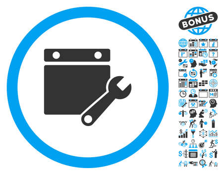 Calendar Page Tuning Wrench pictograph with bonus calendar and time management design elements. Vector illustration style is flat iconic bicolor symbols, blue and gray colors, white background. Illustration