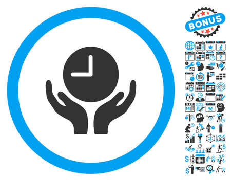timed: Clock Care Hands pictograph with bonus calendar and time management pictograph collection. Vector illustration style is flat iconic bicolor symbols, blue and gray colors, white background.