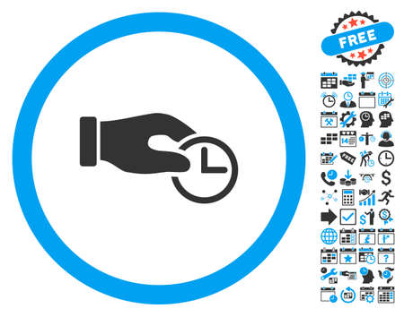 timed: Clock Properties Hand pictograph with bonus calendar and time management images. Vector illustration style is flat iconic bicolor symbols, blue and gray colors, white background.
