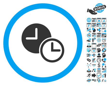 timed: Clocks pictograph with bonus calendar and time management pictures. Vector illustration style is flat iconic bicolor symbols, blue and gray colors, white background.